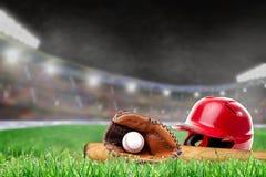 Outdoor Baseball Stadium With Helmet, Bat, Glove and Ball Royalty Free Stock Photos