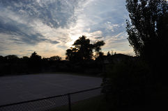 Outdoor Basket ball court sunset sky Royalty Free Stock Photo