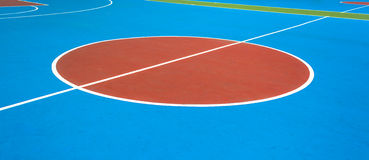 Outdoor basketball court. Colorful new Outdoor basketball court floor Royalty Free Stock Photo