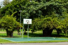 Outdoor basketball court floor polishing smooth. Outdoor basketball court floor polishing smooth and painted well protection in the park stock photography