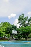 Outdoor basketball court floor polishing smooth and painted well. Protection at Nonthaburi royalty free stock photo