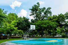 Outdoor basketball court floor polishing smooth and painted well. Protection at Nonthaburi royalty free stock image