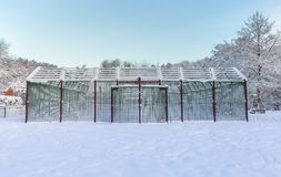 Outdoor Basketball Court in Snow Royalty Free Stock Photo