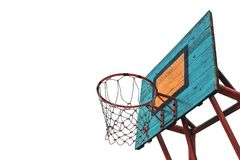 Outdoor basketball hoop isolated on white. Background Stock Images