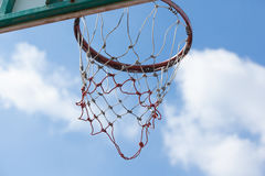 Outdoor Basketball Hoop with Sky Background from Behind. Looking for the Goal, Basketball Hoop with Sky Background from Behind Royalty Free Stock Photos