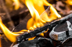 Outdoor BBQ Fire. With Charcoals royalty free stock images