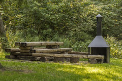Outdoor BBQ. Public outdoor barbecue area in a forest stock photo