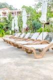 Outdoor beach beds Stock Photos