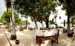 Outdoor beach restaurant Stock Photo