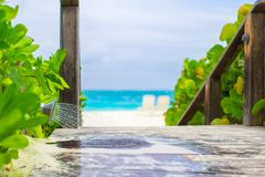 Outdoor beach shower with water at tropical resort Stock Images