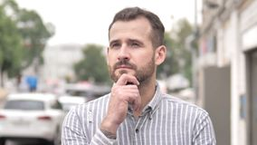 Outdoor Beard Casual Man Thinking New Idea. 4k high quality, 4k high quality stock video