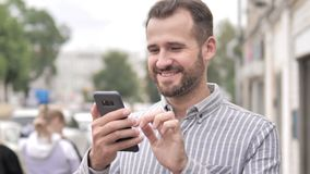 Outdoor Beard Casual Man Using Smartphone. 4k high quality, 4k high quality stock video footage
