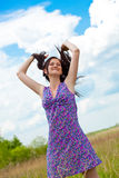 Outdoor beautiful woman portrait Stock Photos