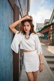 Outdoor beauty women fashion portrait of model posing Stock Images