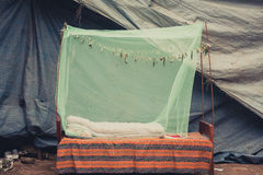Outdoor Bed room with Mosquito Net Stock Image