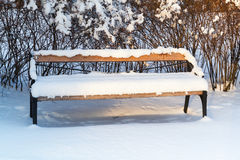 Outdoor bench covered with snow Royalty Free Stock Photo