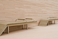 Outdoor benches, left view Stock Photos