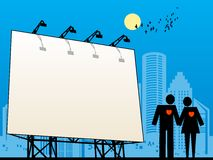Outdoor billboard. In city, color illustration Royalty Free Stock Image