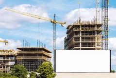 Outdoor billboard at construction site Royalty Free Stock Photography