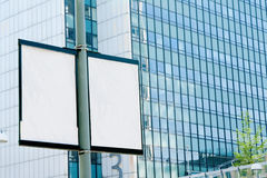 Outdoor billboards. In the background of an office building Royalty Free Stock Photography