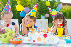 Outdoor birthday party for children Royalty Free Stock Images
