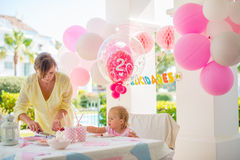 Outdoor Birthday Party for a Little Cute Girl Royalty Free Stock Images