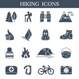 Outdoor black icons set. Hiking and camping symbols. Stock Image