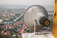 Outdoor black loudspeakers  broadcasting Royalty Free Stock Photos