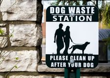 Outdoor black and white sign saying Dog Waste Station stock images