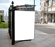 Outdoor Blank Billboard. On city background royalty free stock photo