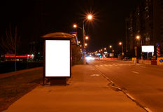 Outdoor blank sign on bus stop Royalty Free Stock Photography