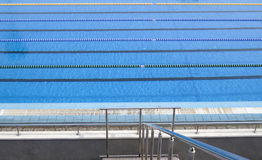 Outdoor blank swimming pool  with lane ropes Stock Image