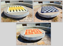 Outdoor Board Games. A collage of 3 different board games located Stock Photography