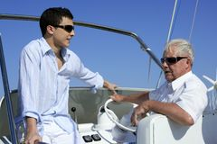 Outdoor boat vacation summer, men generation Stock Image