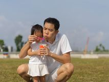 Outdoor bonding between father and daughter with bubble play. Outdoor bonding between father and daughter blowing bubbles in a park Royalty Free Stock Images