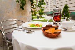 Outdoor breakfast in the hotel Stock Photo