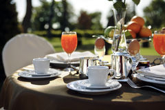 Outdoor breakfast. Table set for an outdoor breakfast royalty free stock photography