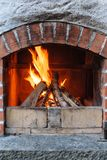 Outdoor brick fireplace Royalty Free Stock Photo