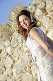 Outdoor bride. Image of a girl in her wedding, outdoor Royalty Free Stock Image