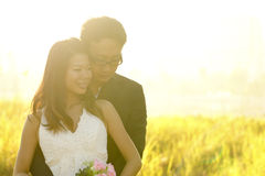 Outdoor Bride and Groom. Surrounding by natural morning golden sunlight Royalty Free Stock Images