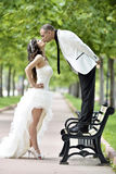 Outdoor Bride and groom kiss Stock Photos