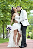 Outdoor Bride and groom kiss. The groom kisses the bride on the bench. couple in the park Stock Photos