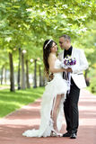 Outdoor Bride and groom kiss Royalty Free Stock Image