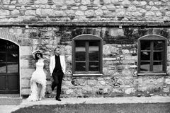 Outdoor Bride and groom Stock Photography