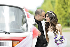 Outdoor Bride and groom Royalty Free Stock Photo