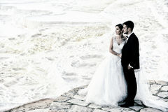 Outdoor Bride and groom. The groom and bride in the pamukkale Stock Photo