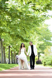 Outdoor Bride and groom. The groom and bride walking in the park Royalty Free Stock Image