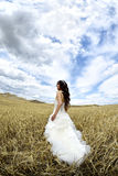 Outdoor Bride. New married bride in pamukkale. happiness married concept. black and white photo Stock Images