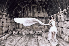Outdoor Bride. In the pamukkale, hierapolis. retro photo designe Stock Photos