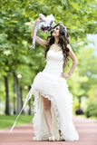 Outdoor Bride smiling Royalty Free Stock Photo
